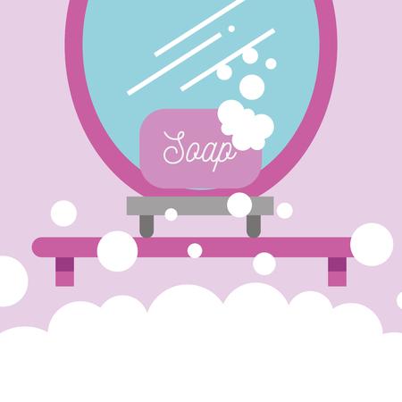 soap on shelf and mirror cartoon bathroom vector illustration