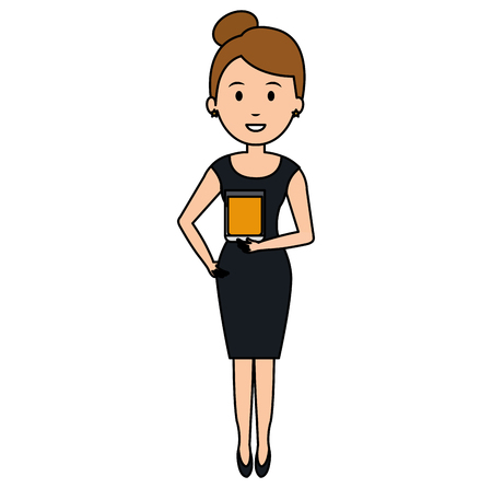 woman with whiskey glass drink vector illustration design Ilustração