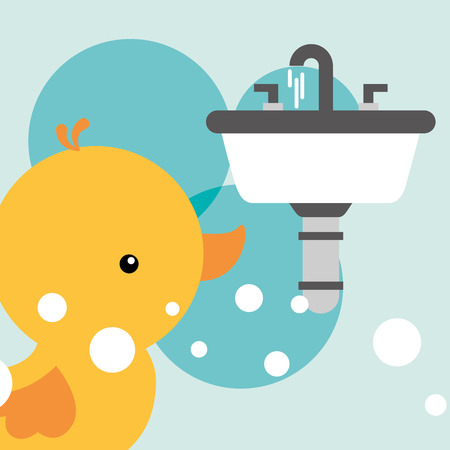 rubber duck toy and white washbasin bathroom vector illustration