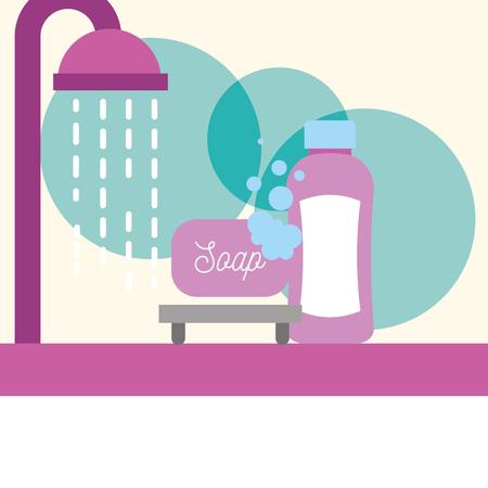 Badewanne Dusche Tropfen Seife Shampoo Schaum Badezimmer Vektor-Illustration Vektorgrafik