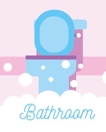 blue toilet bowl foam bubbles bathroom vector illustration