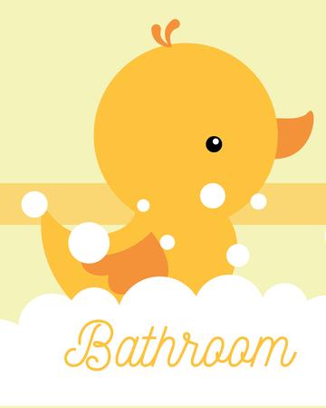 yellow rubber duck toy foam bathroom vector illustration Illustration