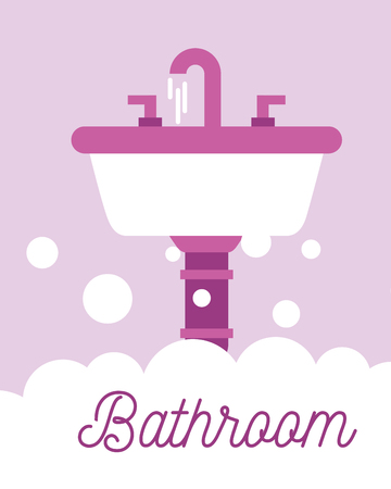 white and pink washbasin foam bathroom vector illustration