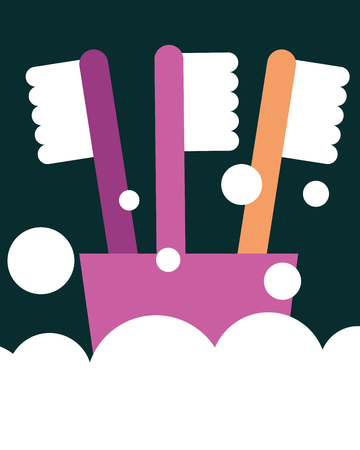 toothbrushes on plastic cup foam bathroom vector illustration Illustration