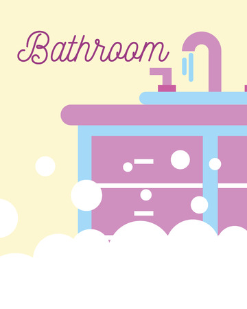 washbasin water furniture foam bubbles bathroom vector illustration