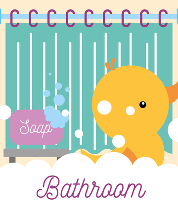 rubber duck toy soap foam curtain bathroom vector illustration