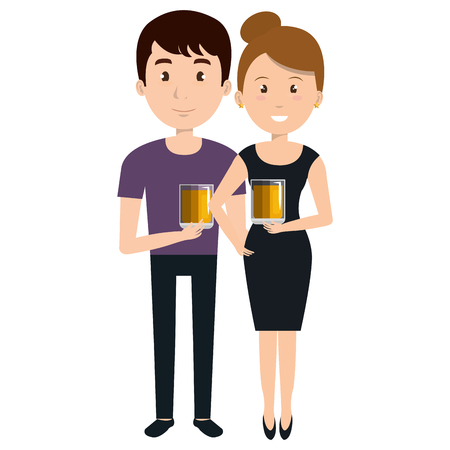 couple with whiskey glass characters vector illustration design
