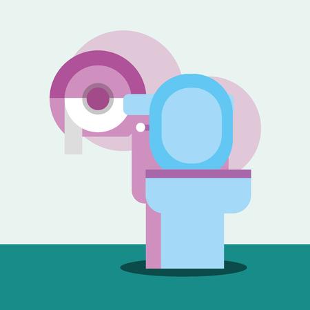 toilet and dispenser paper cartoon bathroom vector illustration