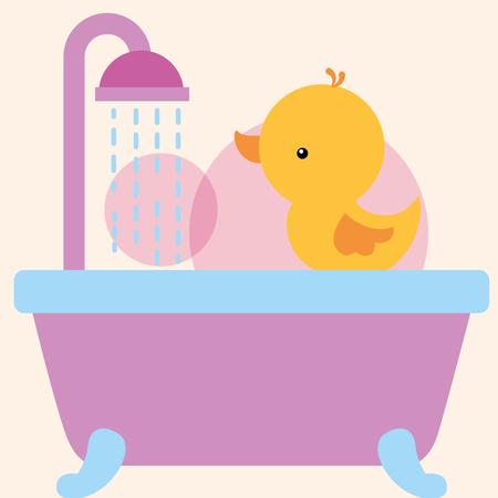 rubber duck toy on bathtub shower water bathroom vector illustration
