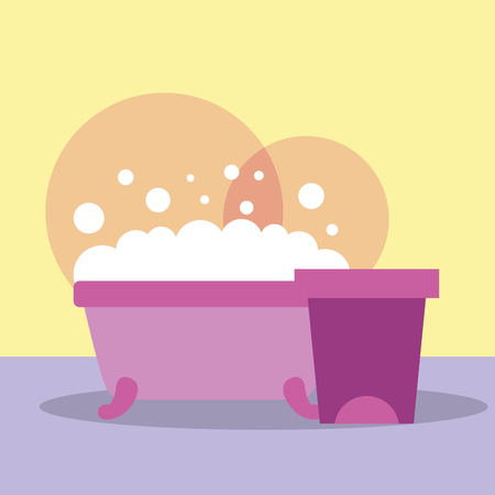 bathtub and trash bin clean bubbles bathroom vector illustration