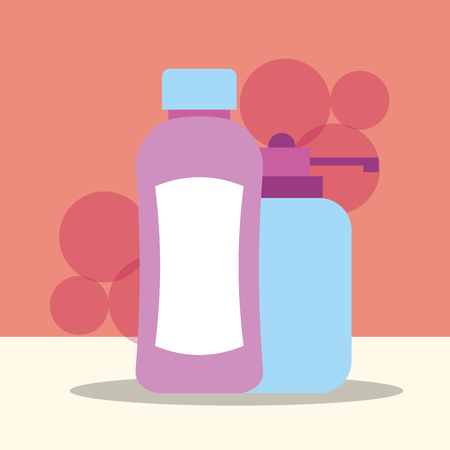 bottle shampoo and dispenser liquid soap bathroom vector illustration