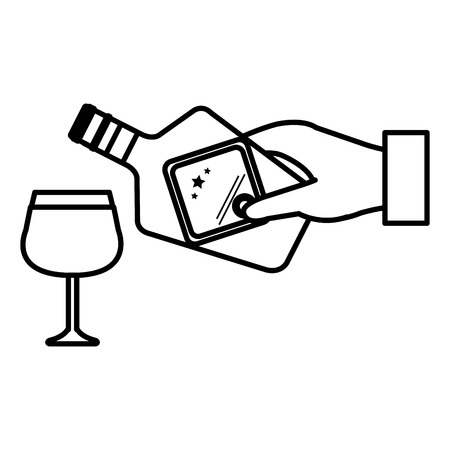 hand with whiskey bottle and cup vector illustration design