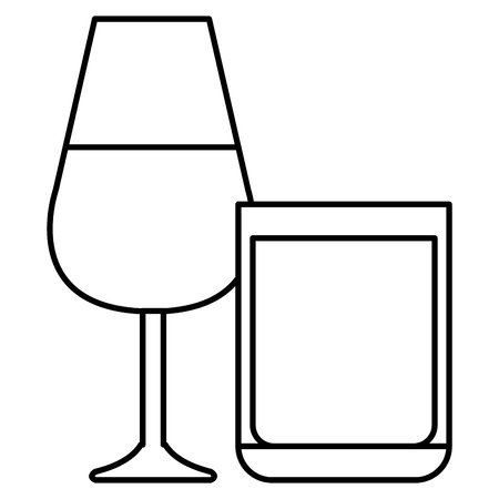wine cup with whiskey glass vector illustration design Illustration