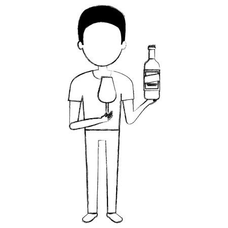 man with wine bottle drink vector illustration design