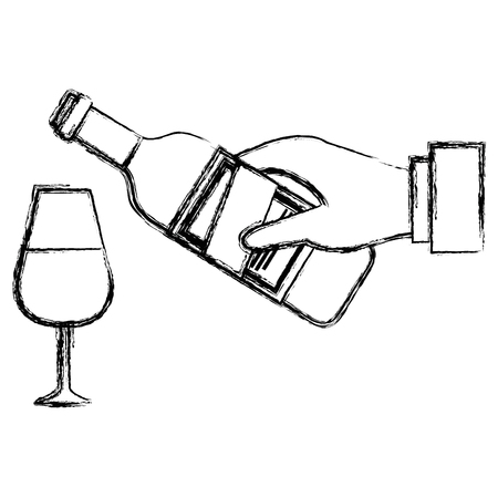 hand with wine bottle and cup vector illustration design