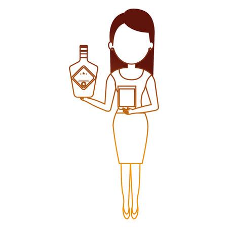 woman with whiskey bottle drink vector illustration design Ilustração