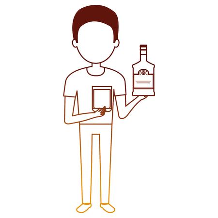 man with whiskey bottle drink vector illustration design