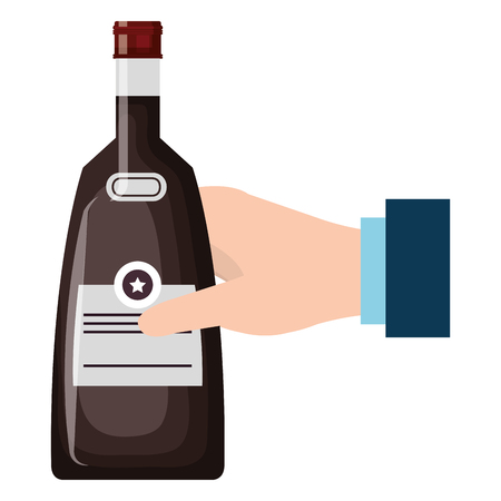 hand with whiskey bottle drink vector illustration design 일러스트
