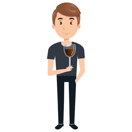 man with wine cup glass vector illustration design Illustration