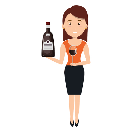 woman with whiskey bottle drink vector illustration design 向量圖像