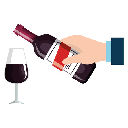 hand with wine bottle and cup vector illustration design Foto de archivo - 106902617
