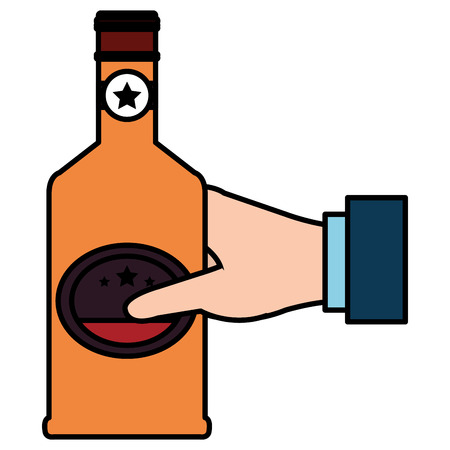 hand with whiskey bottle drink vector illustration design Ilustração
