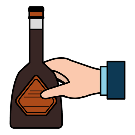 hand with whiskey bottle drink vector illustration design 向量圖像
