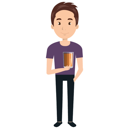 man with whiskey glass drink vector illustration design Stock Illustratie