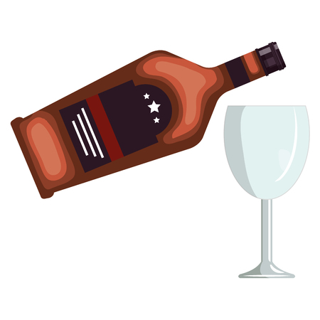 whiskey bottle with cup vector illustration design