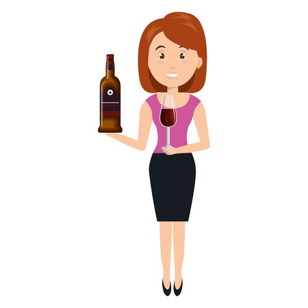 woman with wine bottle drink vector illustration design