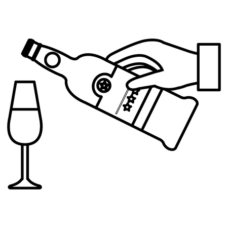 hand with wine bottle and cup vector illustration design Foto de archivo - 106903257