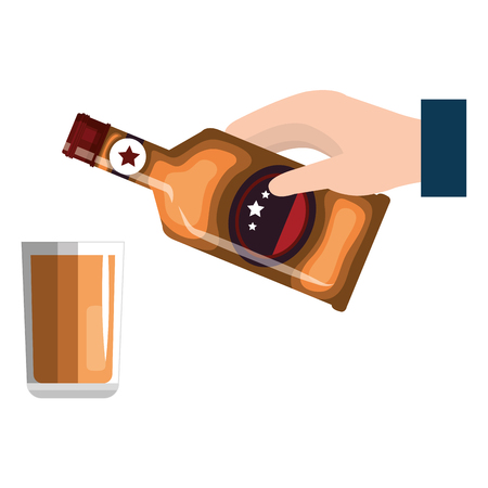 hand with whiskey bottle and glass vector illustration design