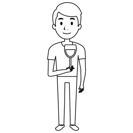 man with wine cup glass vector illustration design Иллюстрация