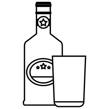 whiskey bottle with glass vector illustration design