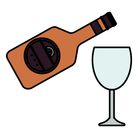 wine bottle with cup vector illustration design