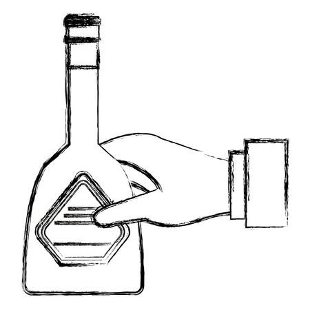 hand with whiskey bottle drink vector illustration design  イラスト・ベクター素材