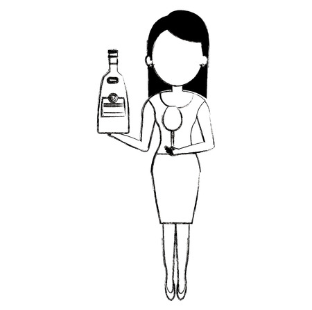 woman with whiskey bottle drink vector illustration design 일러스트