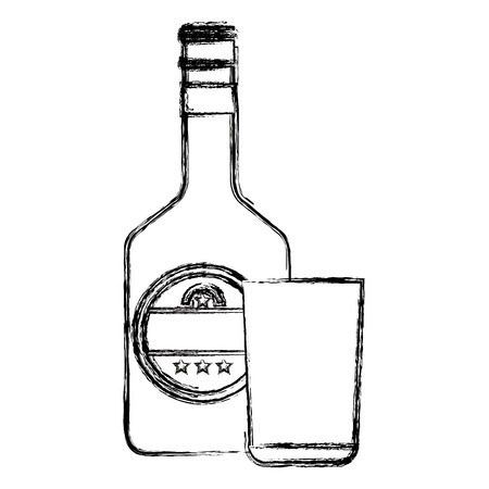 whiskey bottle with glass vector illustration design