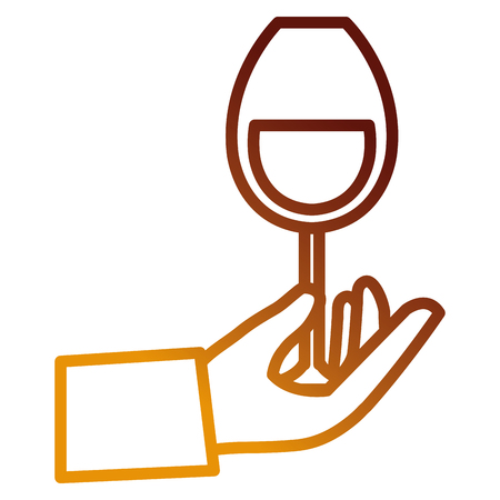 hand with wine cup glass vector illustration design
