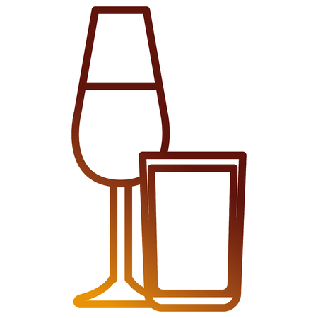 wine cup with whiskey glass vector illustration design 일러스트