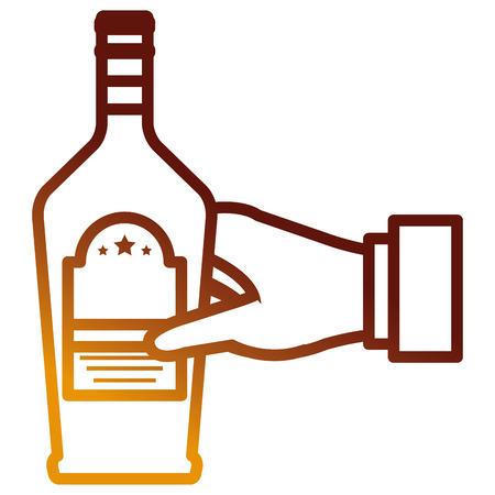 hand with whiskey bottle drink vector illustration design 向量圖像