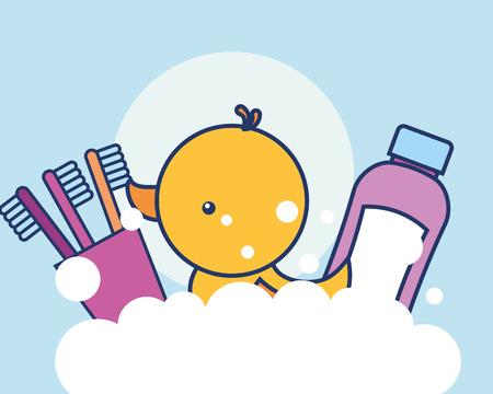 spazzolini da denti in pasta e illustrazione vettoriale di bolle di anatra di gomma