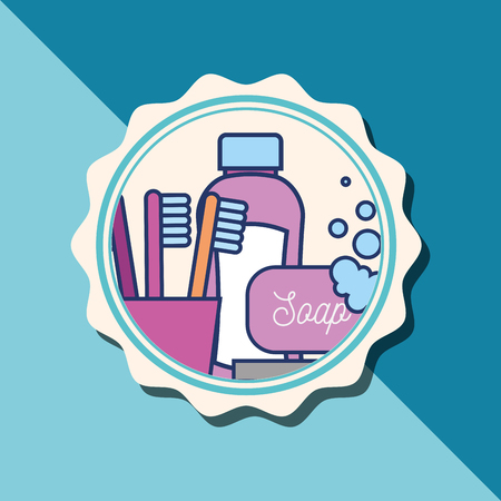 shampoo bottle soap toothbrushes bubbles banner bathroom vector illustration Çizim