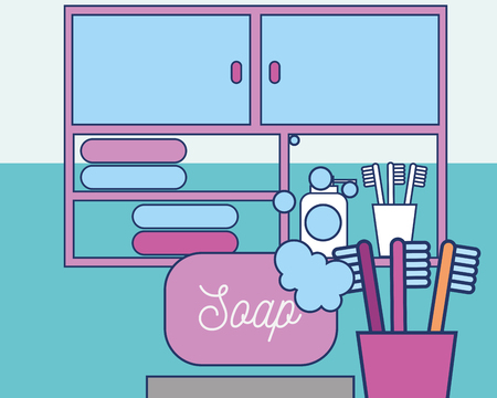 bathroom soap foam toothbrushes drawers and towels vector illustration