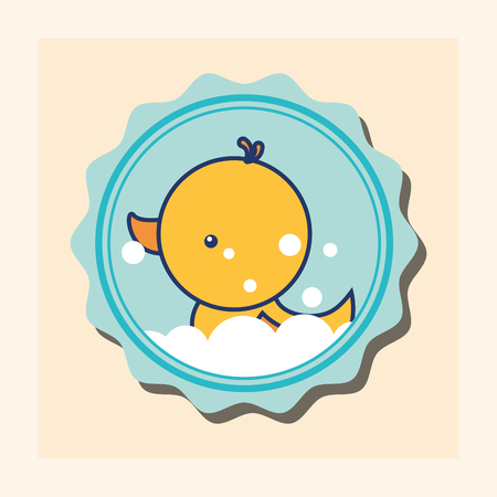 rubber duck bubbles toy banner bathroom vector illustration Stock Illustratie