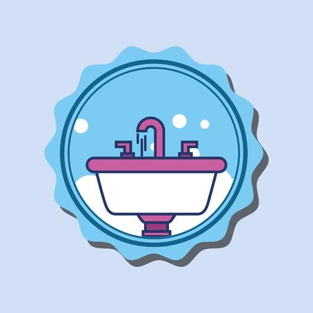 washbasin faucets bubbles cartoon banner bathroom vector illustration