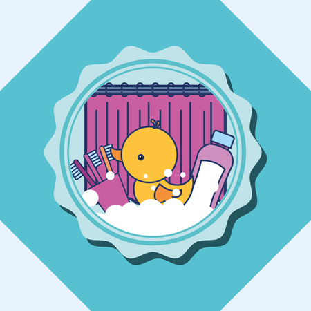 rubber duck toothbrushes and shampoo banner bathroom vector illustration