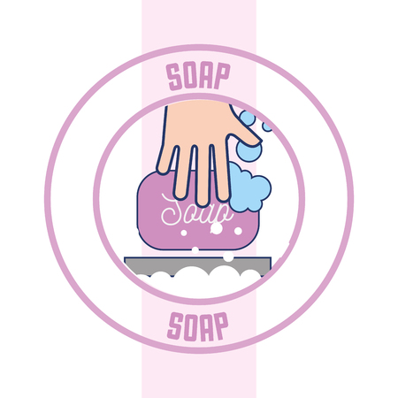 hand with soap bubbles clean badge bathroom vector illustration