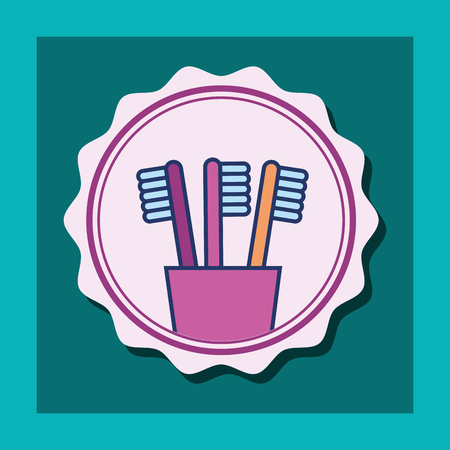 toothbrushes in plastic cup banner bathroom vector illustration