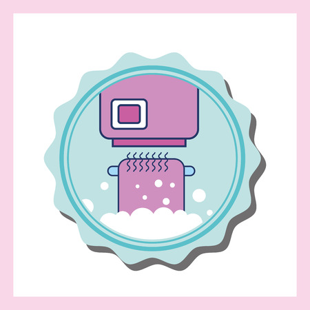 hand dryer and cartoon bathroom towel vector illustration